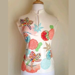 Anthropologie Odille Floral Stretch Top Sz M